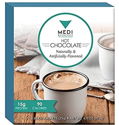 Medi-Weightloss Hot Chocolate With Fiber - High Protein Drink - Low Carb, Low Fat, For Diet / Weight Loss & Hunger Control, 15g of Protein Per Serving (Pack of 7) 6.1 OZ Total