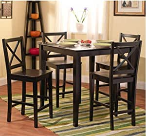 5 Piece Counter Height Dining Room Set Dinette Sets Kitchen Blac