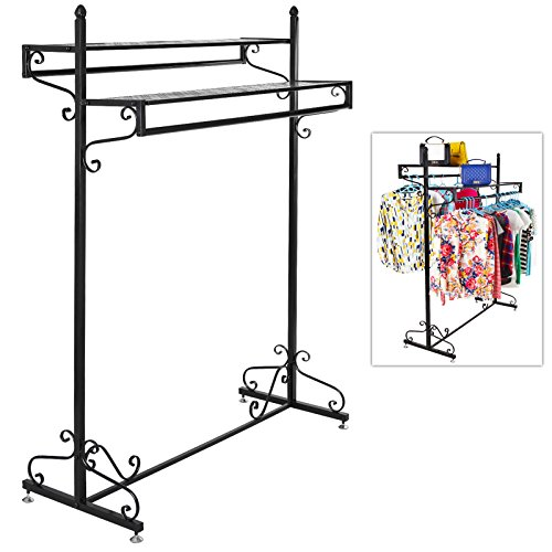 Victorian Style Boutique Clothes / Garment Display Rack w/ Dual Hangrail & Cargo Shelves, Black - MyGift® 0