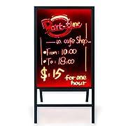 "Woodsam A-Frame Sidewalk Sandwich Message Chalkboard Sign – LED Illuminated 28""x20"" Glass Board"