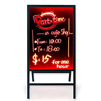 A-Frame Sidewalk Sandwich Message Chalkboard Sign – LED Illuminated