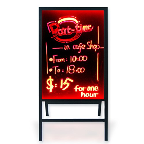"Woodsam A-Frame Sidewalk Sandwich Message Chalkboard Sign – LED Illuminated 28""x20"" Glass Board"