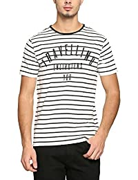 Abof Men White Striped Regular Fit T-shirt