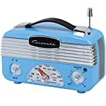 Coronado Vintage Style Retro Blue AM/FM Portable Radio w/ Leatherette Handle