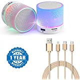 Captcha OnePlus 3T Compatible Certified Colorful LED Light Crack Pattern Mini Stereo Portable Wireless Bluetooth Speaker With Universal High-quality 3 In 1 Fiber Cable (1 Year Warranty)