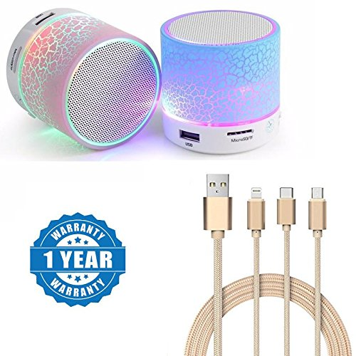 Sony Xperia Z5 Dual Compatible Certified Colorful LED Light Crack Pattern Mini Stereo Portable Wireless Bluetooth Speaker With Universal High-quality 3 In 1 Fiber Cable (1 Year Warranty)