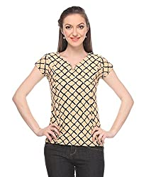 Wearsense Women's Top (Beige and Black, Medium)