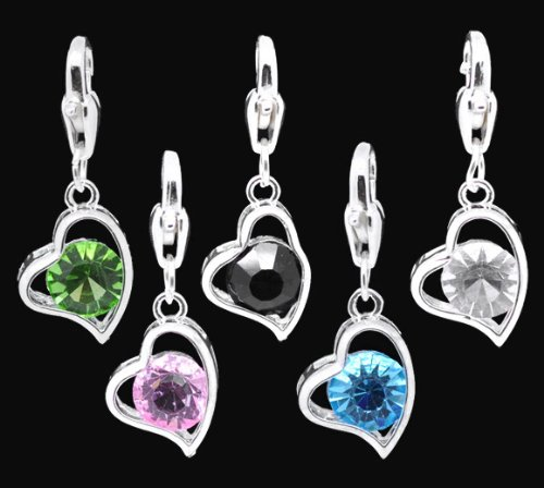 Believe Beads © Set of 5 Mixed Colours Silver Plated Dangle Heart charms will fit pandora style bracelets,