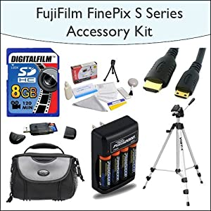 """8GB Accessory Package Including 8GB SDHC High Speed Memory Card with Card Reader, 54"""" Professional Tripod, Deluxe Camera Bag, Mini HDMI Cable, 4x AA Rechargable Batteries, Opteka 5 Piece Lens Cleaning Kit for Fuji FinePix s2800, s2950, s3200, s4000 and HS20EXR Digital Cameras"""