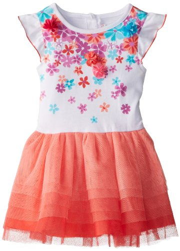Youngland Little Girls' Scattered Flowers Tutu Dress, Coral Multi, 2T