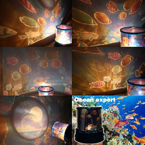 Efreecity Amazing Romantic Led Projector Night Light With Music And Automatic Rotation Function Christmas Gift(Usb Included) (Ocean Expert)