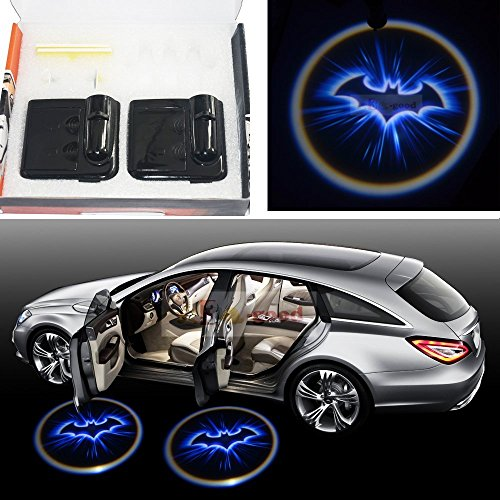 2x Night Cold Blue bat batman Black Wireless car door LED projection projector light courtesy welcome logo shadow ghost light laser projector Magnet Sensor Easy installing auto car door logo projector welcome light laser ghost shadow lamp for bmw 5series e39 e53 x5 z8 e52 m performan car accessories