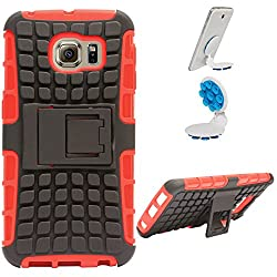 DMG Dual Hybrid Hard Grip Rugged Kickstand Armor Case for Samsung Galaxy S6 Edge (Red) + Octopus Mobile Phone Holder Stand