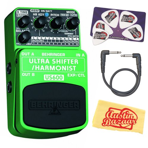 Behringer Us600 Ultimate Pitch Shifter/Harmonist Effects Pedal Bundle With Patch Cable, Pick Card, And Polishing Cloth
