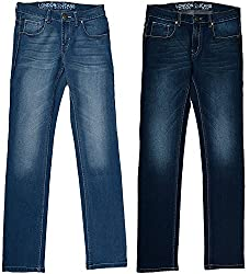 LONDON JEANS SLIMFIT STRETCH MENS HIGH FASHION JEANS (dark blue.lightblue ,Set of 2) - (LJRVSBD, 30)