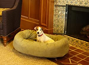 Majestic Pet 32-Inch Suede Bagel Dog Bed, Sage