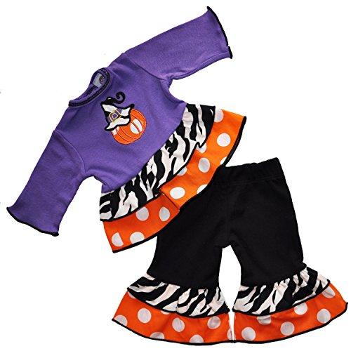 [AnnLoren Halloween Purple Pumpkin Polka Dot Doll Outfit Fits American Girl] (Barbie Halloween Outfit)