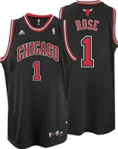adidas Chicago Bulls #1 Derrick Rose Black Swingman Basketball Jersey (XXXX-Large)