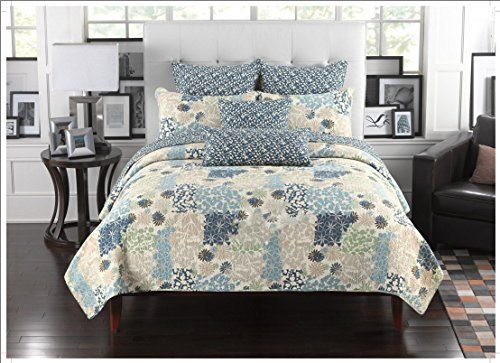 Best Buy! Mk Collection 3pc Bedspread Coverlet Floral Modern Blue Beige California King)
