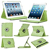 Stuff4 Polkadot Leather Smart Case with 360 Degree Rotating Swivel Action and Free Screen Protector/Stylus Touch Pen for Apple iPad Mini/Mini Retina - Green/White