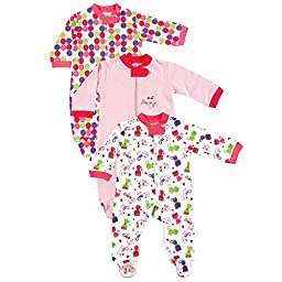 3-Pack Zippered Sleep N Play, Pretty Kitty, 0-3 months, Assorted Designs