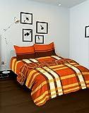 Tomatillo Nature Pure Cotton Double Comforter - Striped, Orange and Yellow
