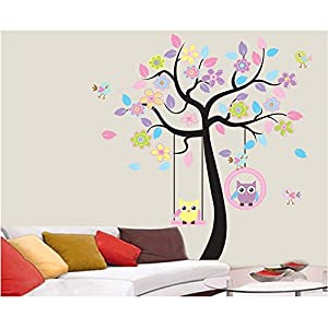 isremi(TM) Lovely Cartoon Couple Cute Owl Swing Tree Colorful Removable Wall Stickers DIY Wallpaper Mural Kids Children Room Bedroom from isremi