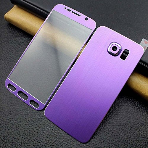 LEYSHIZ Front+Back Titanium Alloy Metal Tempered Glass Film For Samsung Galaxy S6 G9200 Full Cover Screen Protector (PURPLE)