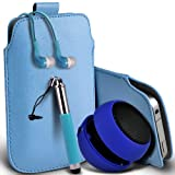Samsung Galaxy S5 Premium Protective PU Leather Pull Tab Cord Slip In Pouch Pocket Skin Cover Case, Retractable Stylus Pen, 3.5mm Jack Earbuds Earphones Headphones & Mini Rechargable Portable Capsule Travel Bass Speaker 3.5mm Jack Baby Blue by Fone-Case