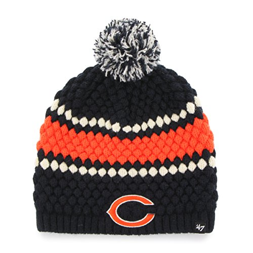 NFL Chicago Bears Women's '47 Leslie Knit Beanie with Pom, One Size, Navy (Bears Winter Hat compare prices)