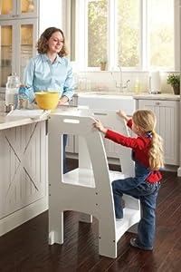 Guidecraft Kids Kitchen Helper Safety Tower Step Stool White by GUIDECRAFT