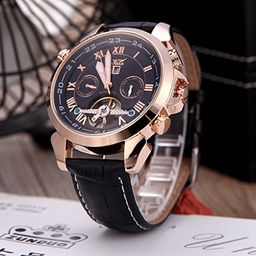 Anself Jaragar Automatic Mechanical Men'S Fashion Leather Sport Wrist Watch Band Roman & Arabic Numerals Date Day Week Rose Gold & Black
