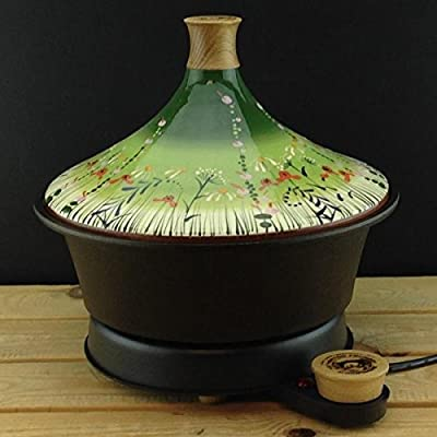 "Netherton Foundry Cast Iron Electric Tagine, Frost hand thrown & hand painted ""Meadow Flower""(Green) ceramic lid (2016 model) by Netherton Foundry"