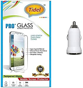 Tidel 0.3mm Tempered Glass Screen Guard Protector For CoolPad Dazen 1 USB Car Charger Adapter