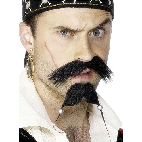 Pirate Tash and Beaded Beard Set - One Size