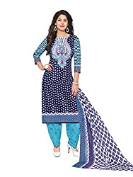 PShopee Blue & Sky Blue Cotton Unstitched Semi Patiyala Suit Dress Material