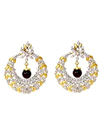 Daamak Gold Plated Cubic Zircon Circular Earring For Women