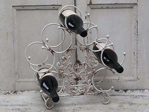 Chic Antique ° supporto cantinetta vino ° ° in metallo per 7bottiglie ° SHABBY ° °