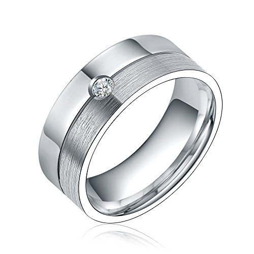 Polished Brushed Silver Flat 8Mm Couples Womens Mens Cz Titanium Wedding Engagment Ring Size 7-13 (13)