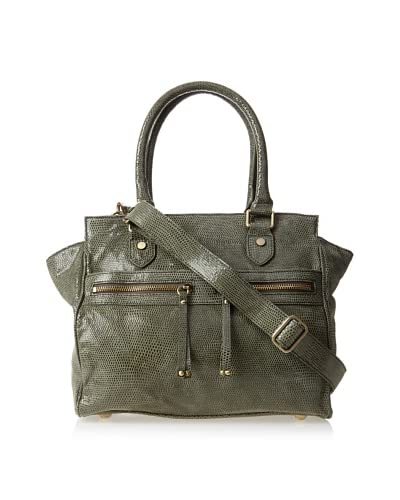 Chez by Cheryl Women's Allegra Large Satchel, Olive Lizard As You See