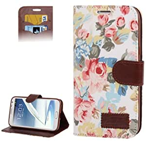 Peony Pattern Denim Texture Leather Case with Credit Card Slots & Holder for Samsung Galaxy Note 2 N7100