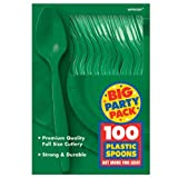 Amscan Big Party Pack 100 Count Mid Weight Plastic Spoons, Green