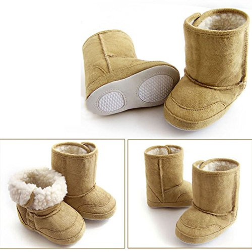 Baby Toddler 9-22 Month Prewalker Shoes Cute Warm Winter Snow Boots (Large(9-12 Month), Brown)