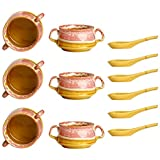 Katori Soup Bowl With Spoon Ceramic/Stoneware In Pink & Brown Double Handled (Set Of 6) Handmade By Caffeine