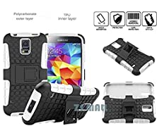 buy S5 Case,Galaxy S5 Case,[Perfect Fit] [Light Weight] [Shock Absorption] Durable Tough High Impact Hard Shell With Soft Tpu Dual Layer Protective Case Cover With Kickstand For Samsung Galaxy S5 (White)