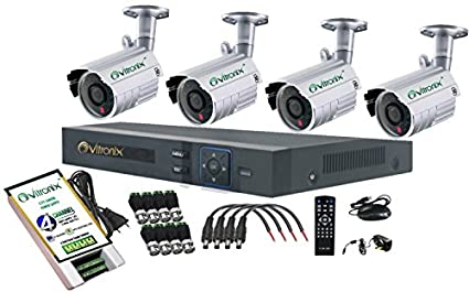 Ovitronix 4-Channel AHD Dvr Combo kit (4 1.0MP/24IR Bullet CCTV Cameras With Accessories)