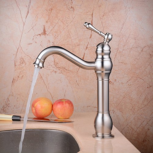 Buy Hiendure Deck Mount Bathroom Vessel Sink Faucet Single Lever Control Tall Spout Mixer Taps, Brus...