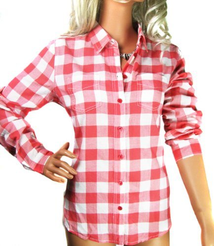 Ladies Coral & White Check Long Sleeved Blouse Shirt including women's plus sizes