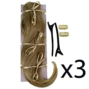 3x POP Clip In On Hair Extensions 2 Two Piece Straight Sandy Blonde 16