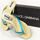 "DOLCE & GABBANA ""Ciabatta"" womens sandals leather (turquoise/blue) 5"